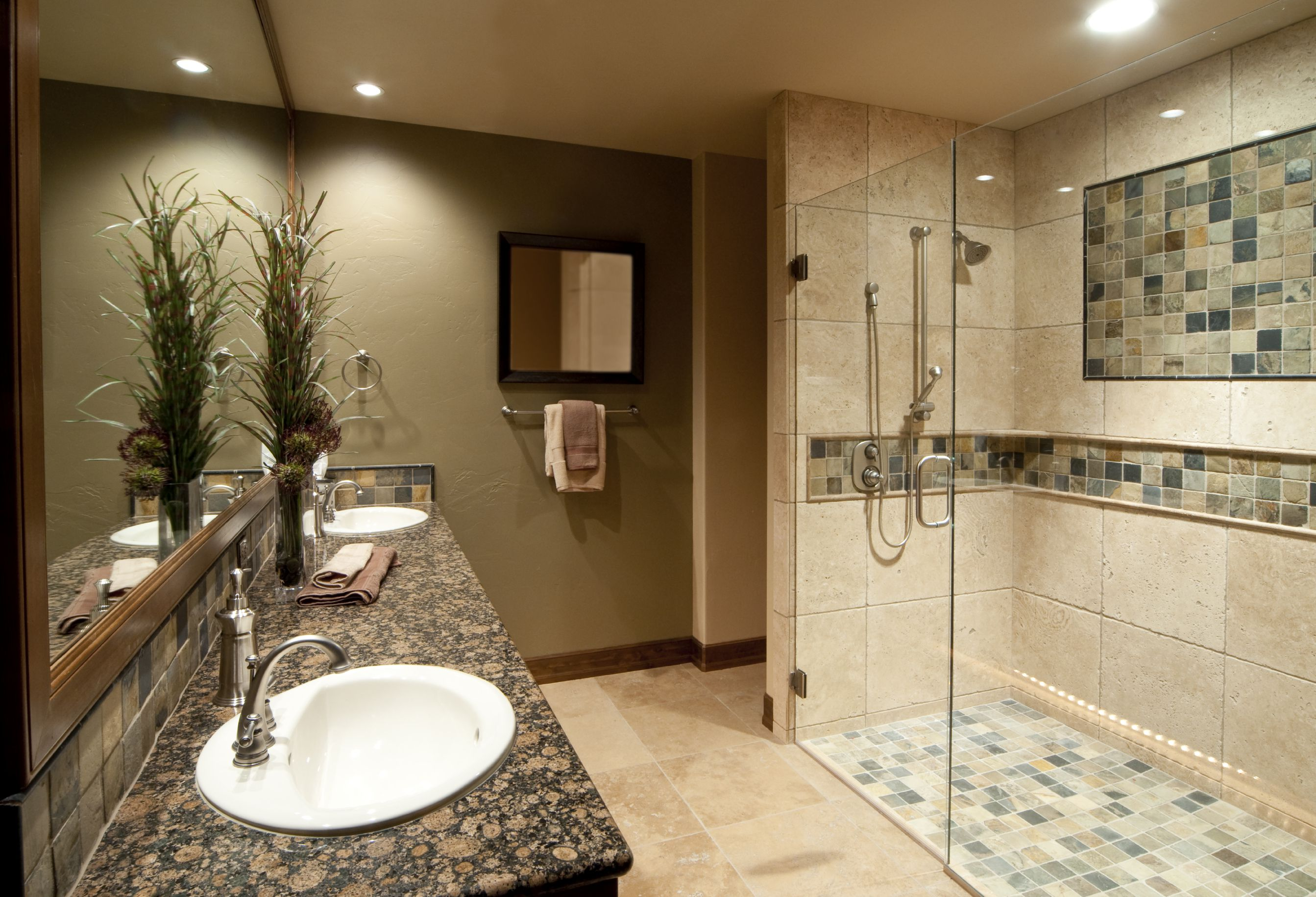 Astonishing Design Of The Bathroom Remodel Added With Grey Marble Tops Of The Cabinets And White Sink Ideas