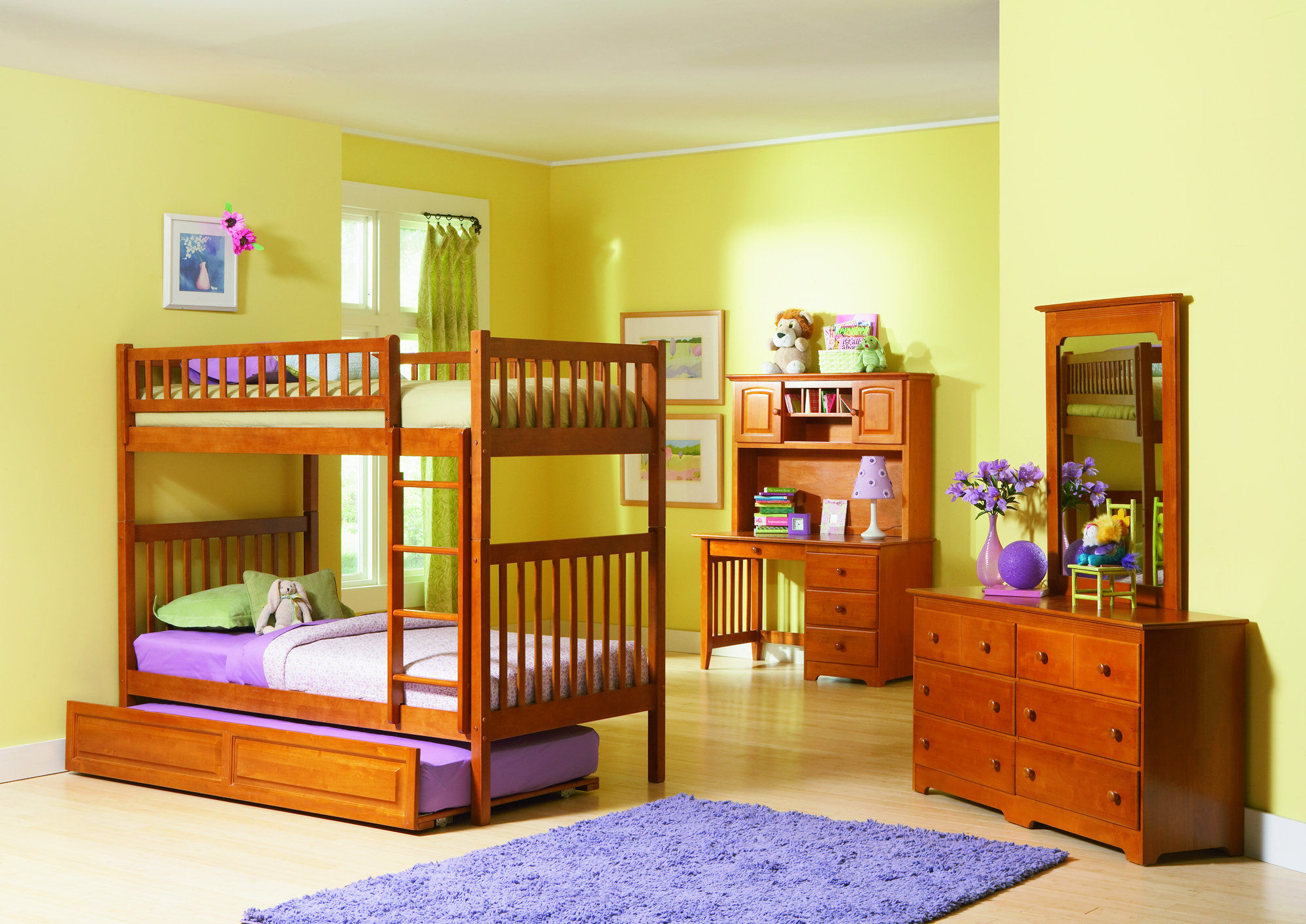 Astonishing Design Of The Bedroom Areas With Brown Wooden Bunk Bed And Purple Rugs And Brown Wooden Cabinets As Kids Bedroom Furniture Ideas