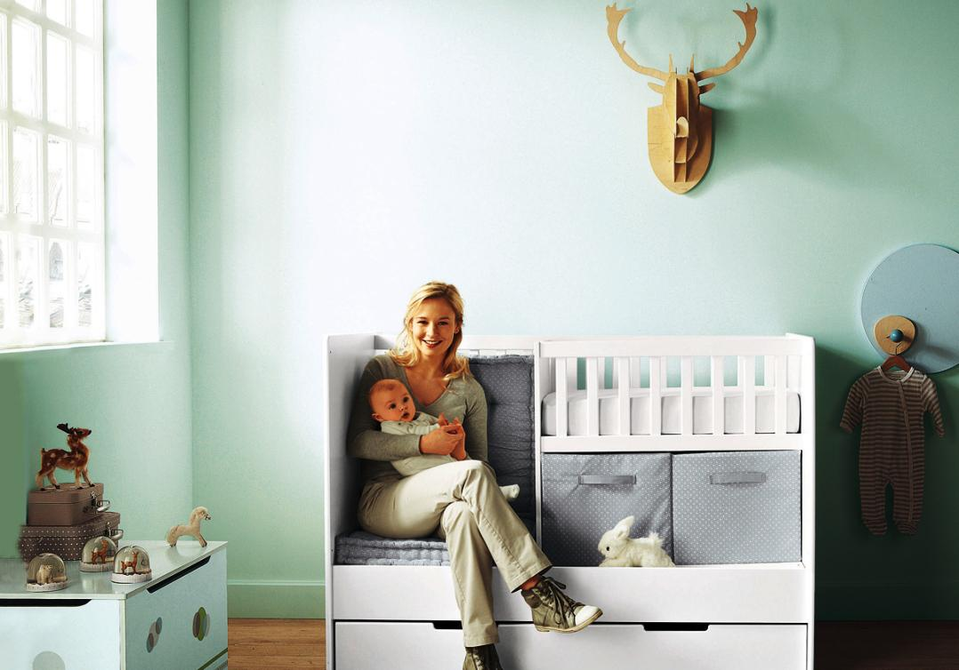 Astonishing Design Of The Blue Tosca Wall Ideas With White Wooden Bed And Grey Storage As The Baby Nursery Themes