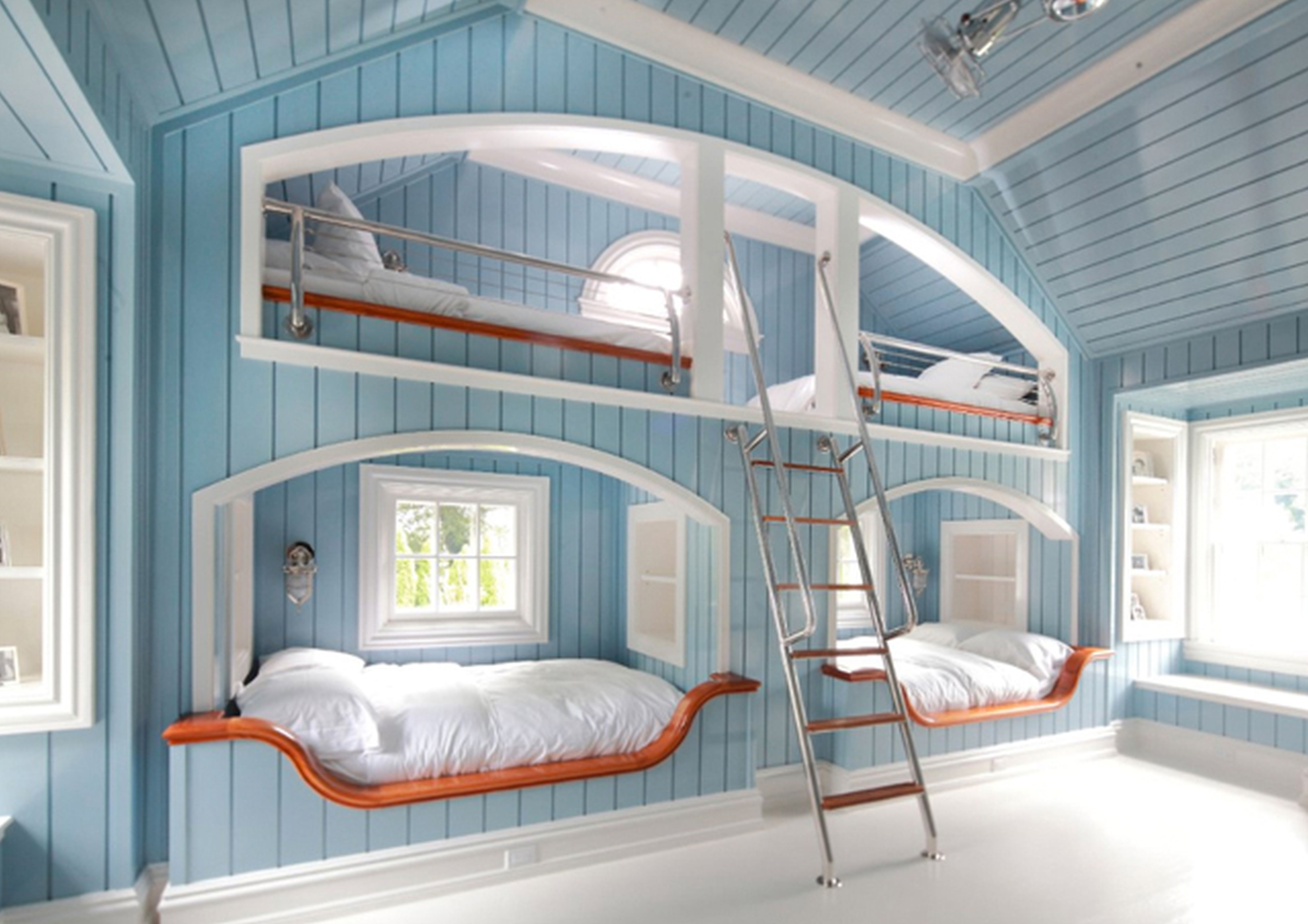 Astonishing Design Of The Blue Wooden Wall Added With White Floor And White Bed As The Teenage Room Ideas