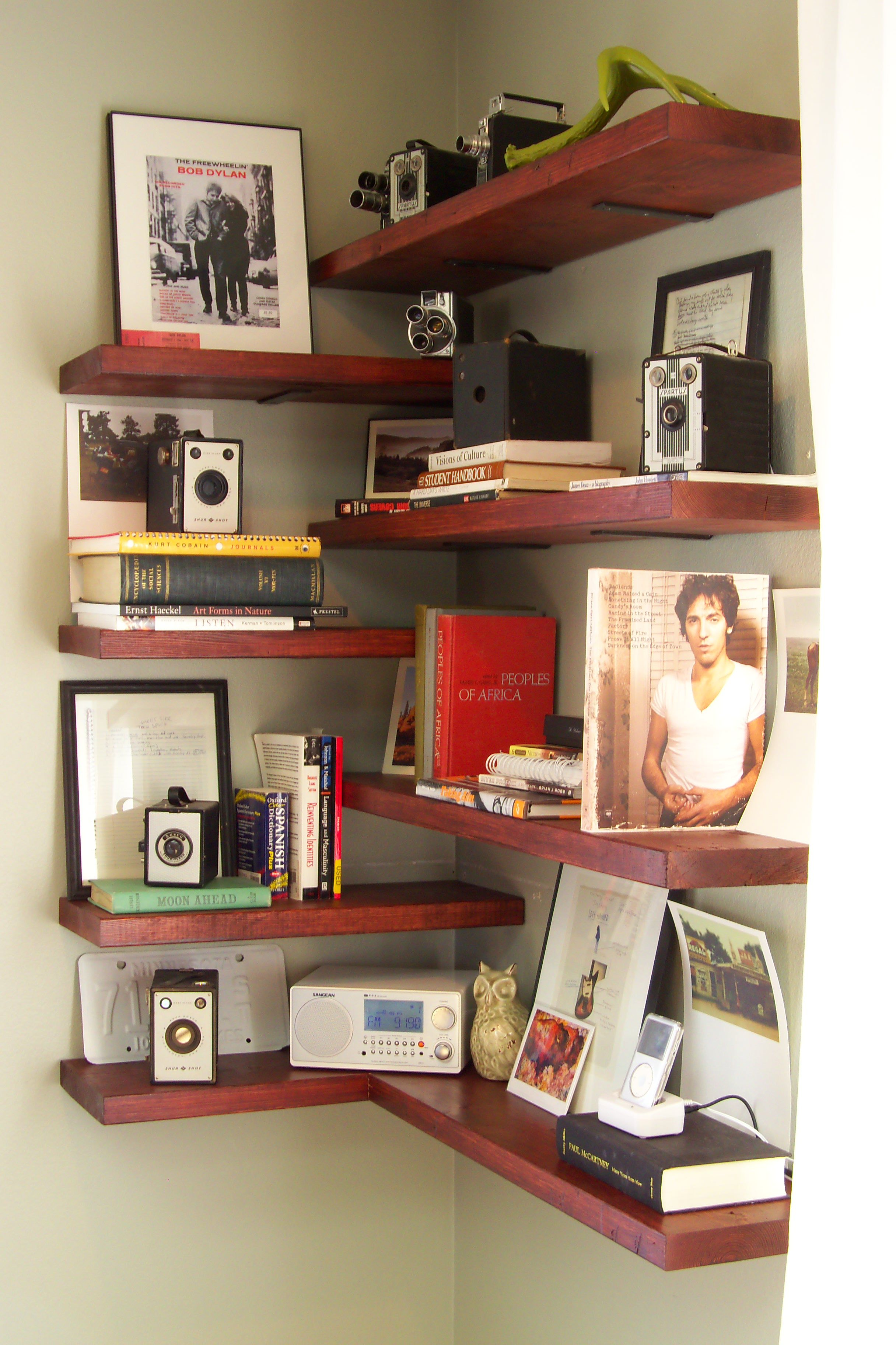 Astonishing Design Of The Brown Wooden Floating Corner Wall Shelves With Some Pics