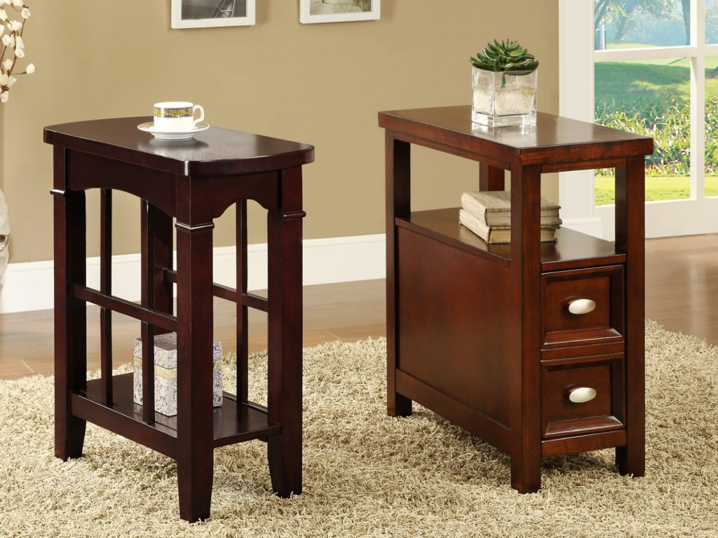 Astonishing Design Of The Brown Wooden Narrow Side Table With Drawers And  Wooden Tops Ideas With