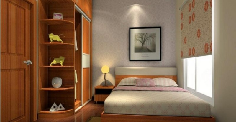 Astonishing Design Of The Brown Wooden Shelves Ideas Wit Grey Rugs And Floral Curtain For Tiny Bedroom Ideas