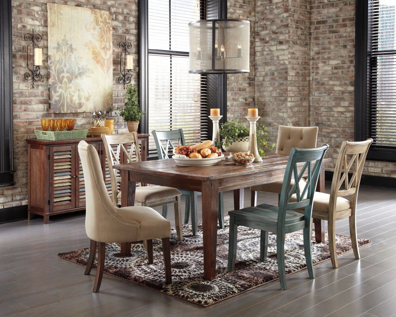 Astonishing Design Of The Dining Room Areas With Grey Floor Added With  Brown Wooden Table And
