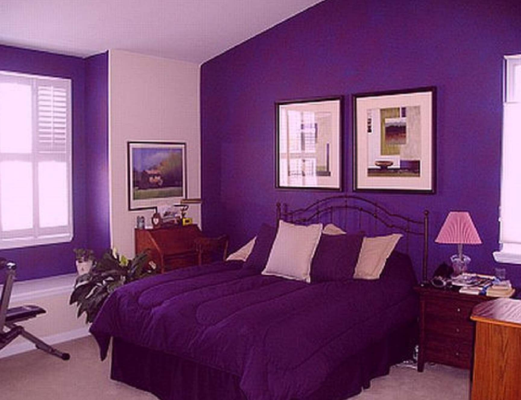Astonishing Design Of The Purple Wall Color Ideas With Purple Bed Cover Ideas With Grey Floor Ideas