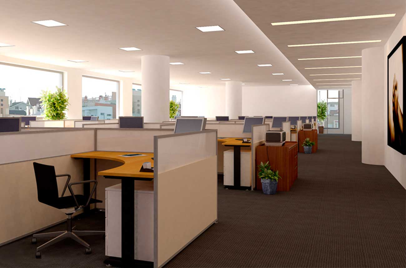 Astonishing Design Of The White Wall Added With Grey Floor And White Desk For The Office Areas