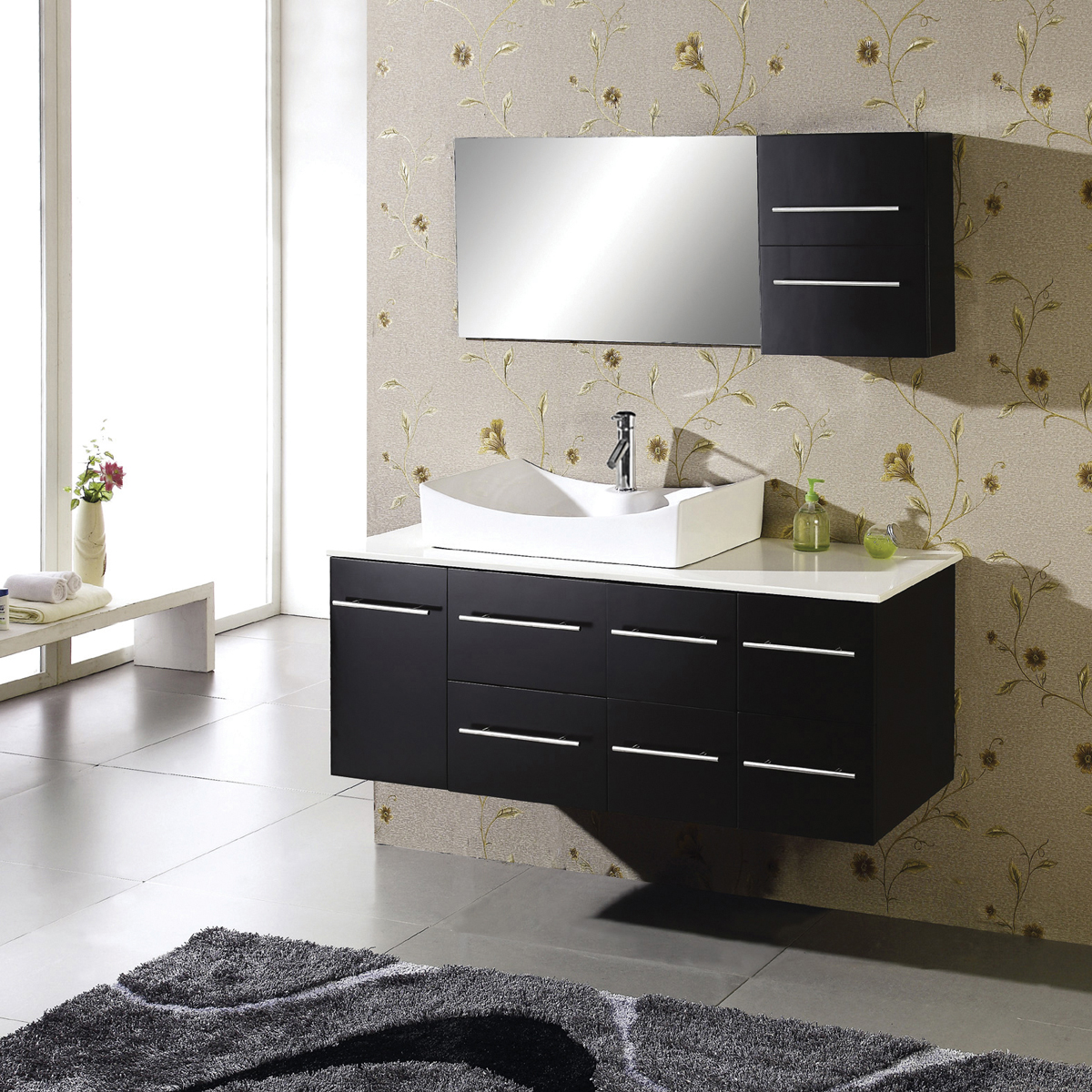 High Quality Astounding Design Of The Black Rugs Added With Grey Floor And Black Floating  Bathroom Vanity