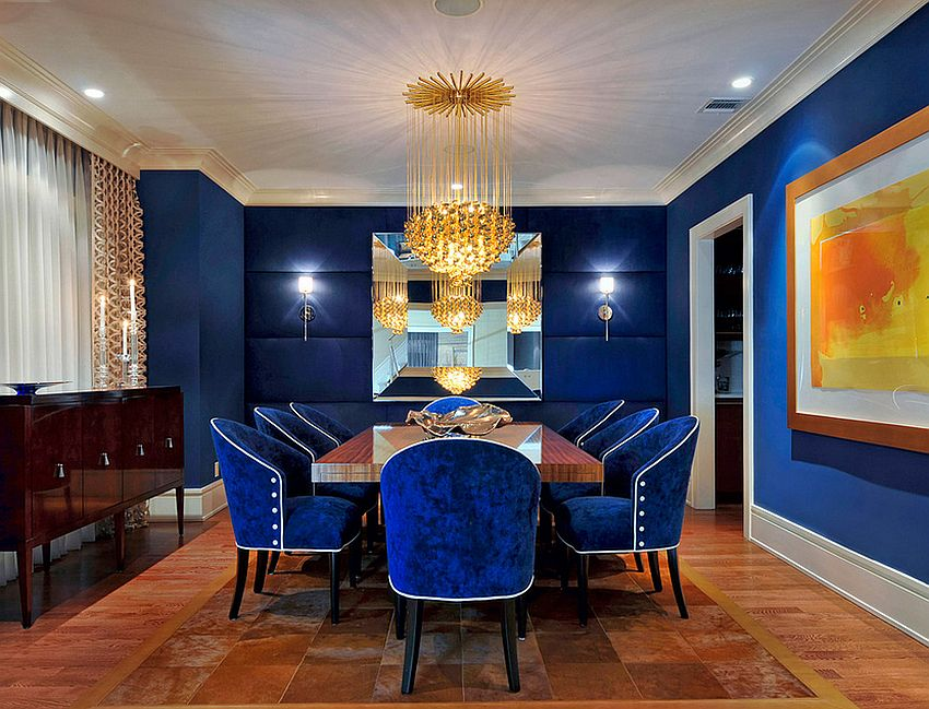 Astounding Design Of The Blue Dining Room With Blue Wall Ideas Added With Brown Floor And Blue Fabric Seat Ideas