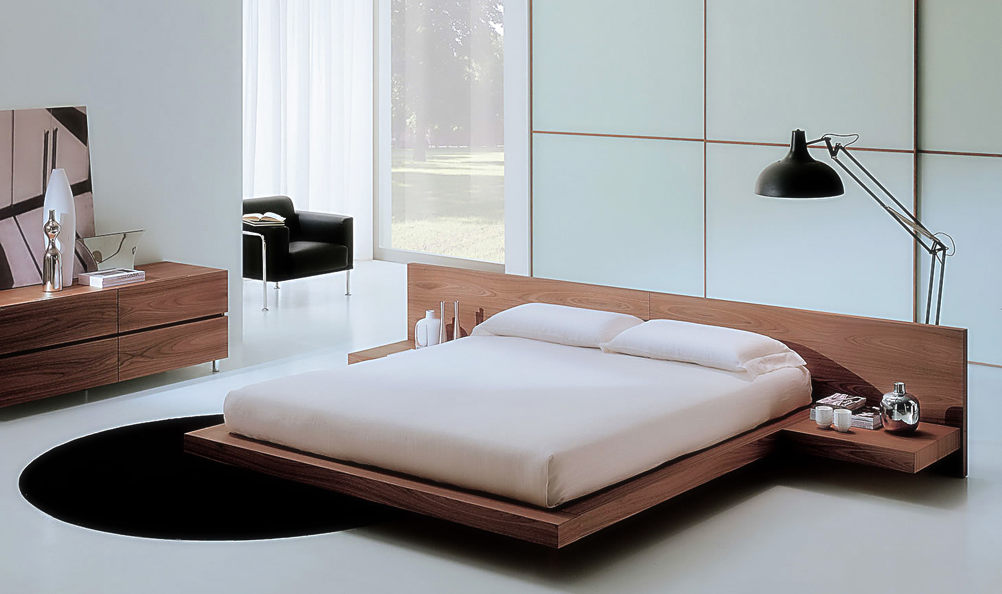 Astounding Design Of The Brown Wooden Modern Wall Color Ideas With Black Rugs And White Floor Ideas