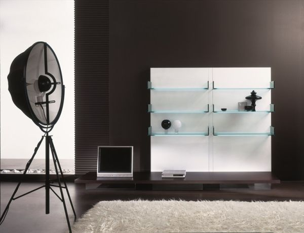 Astounding Design Of The Glass Wall Shelves With Black Wall Added With Black Floor Ideas With White Rugs Ideas