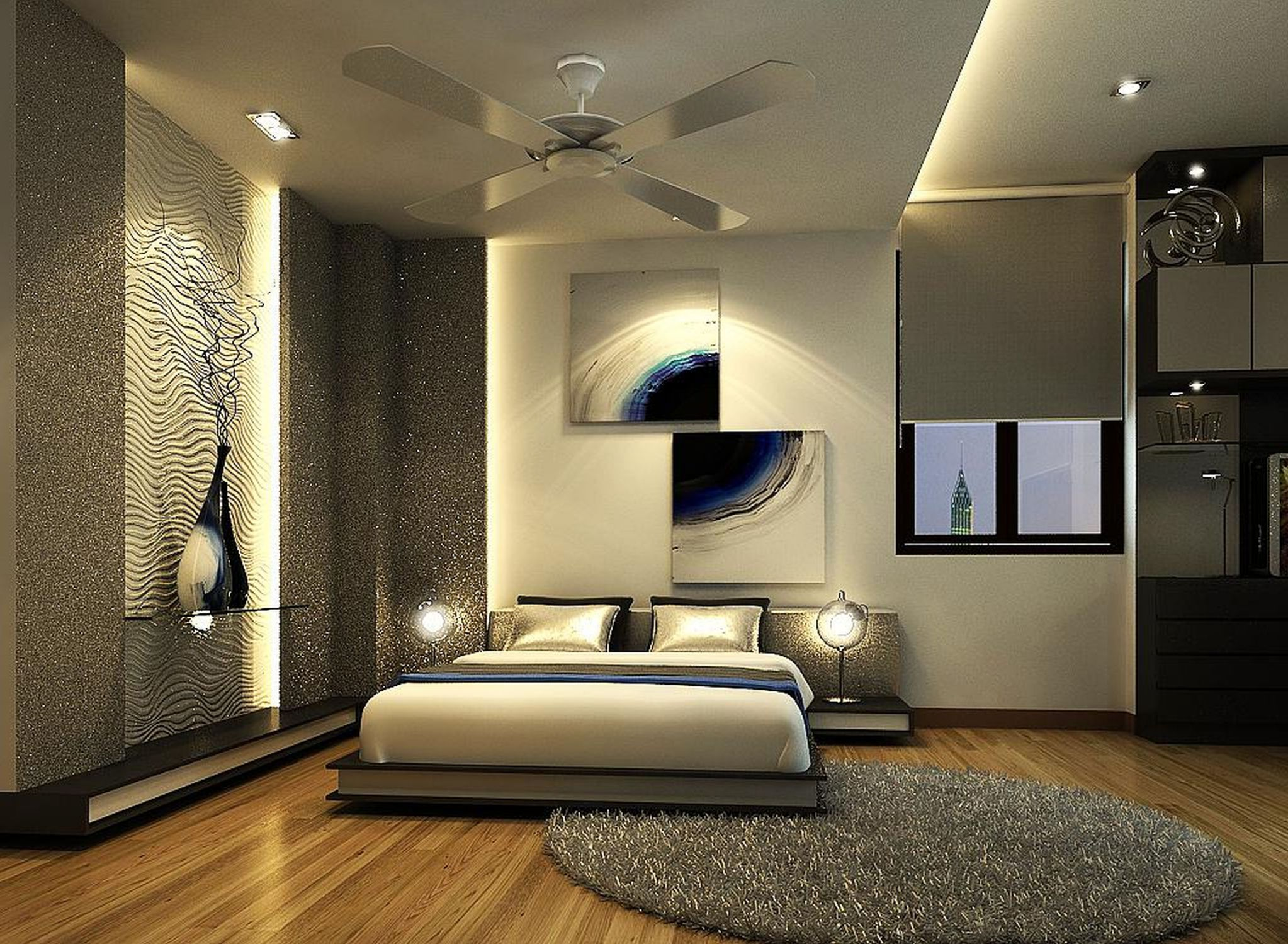 Astounding Design Of The Grey Rugs Ideas With Brown Wooden Floor And Some Pics On The Wall Of The Modern Bedroom Ideas