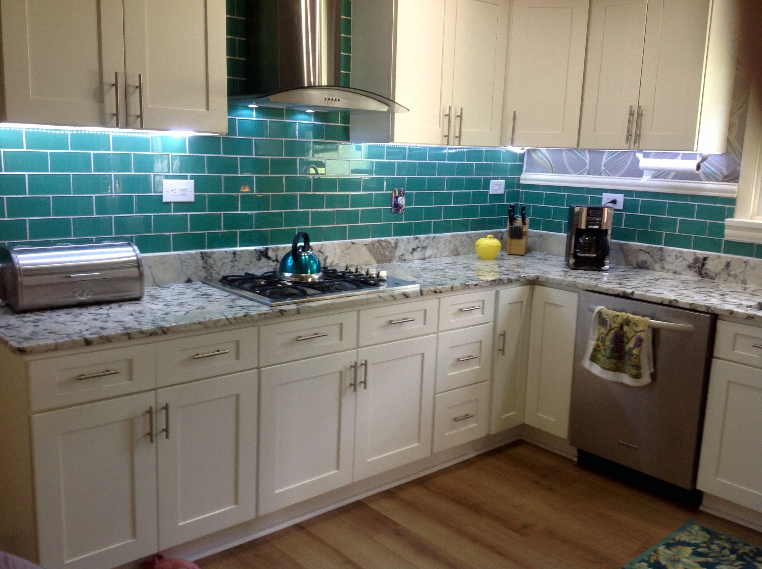 A wide range of interesting subway tile kitchen options for White and brown kitchen ideas
