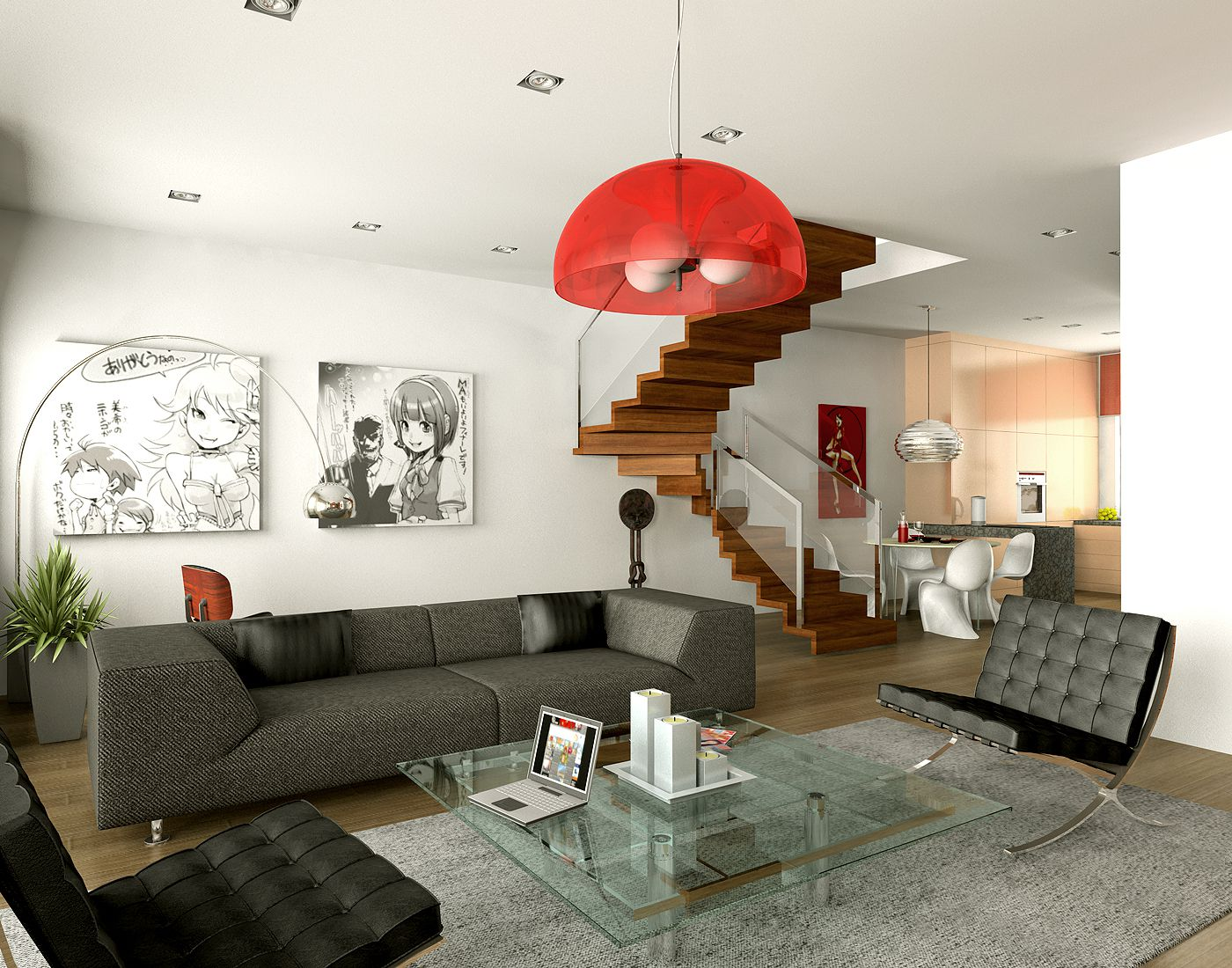 Astounding Design Of The White Wall Ideas Added With Wooden Stairs And Black Sofa Ideas As Room Decoration Ideas