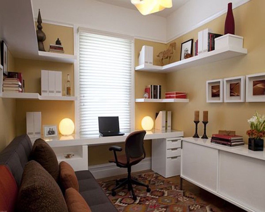 Astounding Office At Home Ideas With White Desk And White Shelves Floating Ideas With Brown Rugs