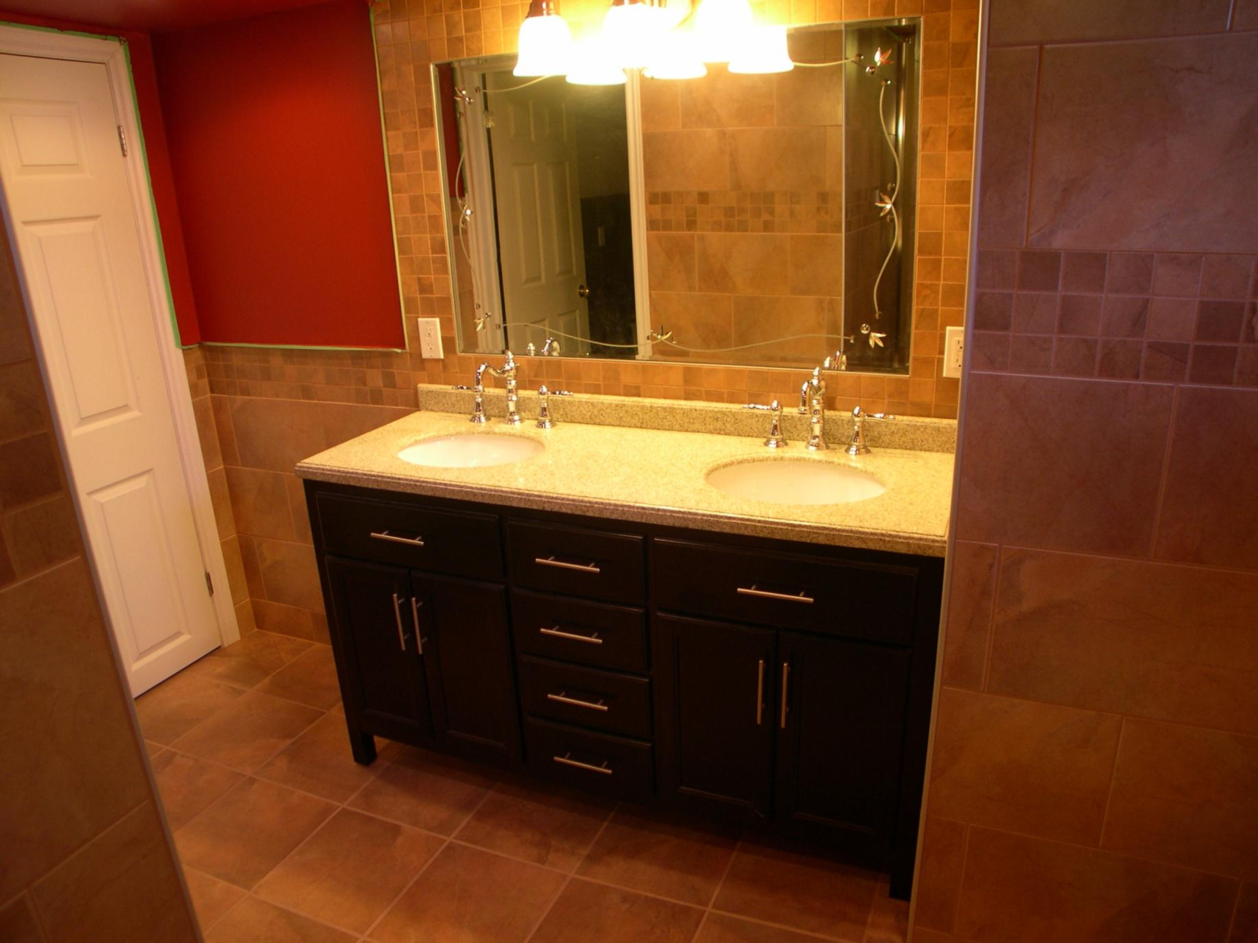 Attractive Cabinet also Mirror and Wall Lamps For Basement Bathroom Ideas