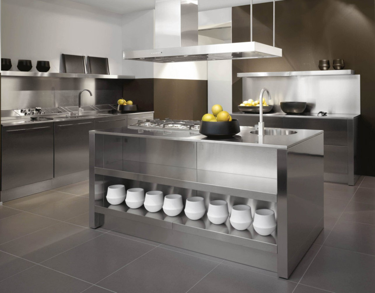 Attractive Stainless Steel Kitchen Cabinets also Rectangular Pendant Light Fixture