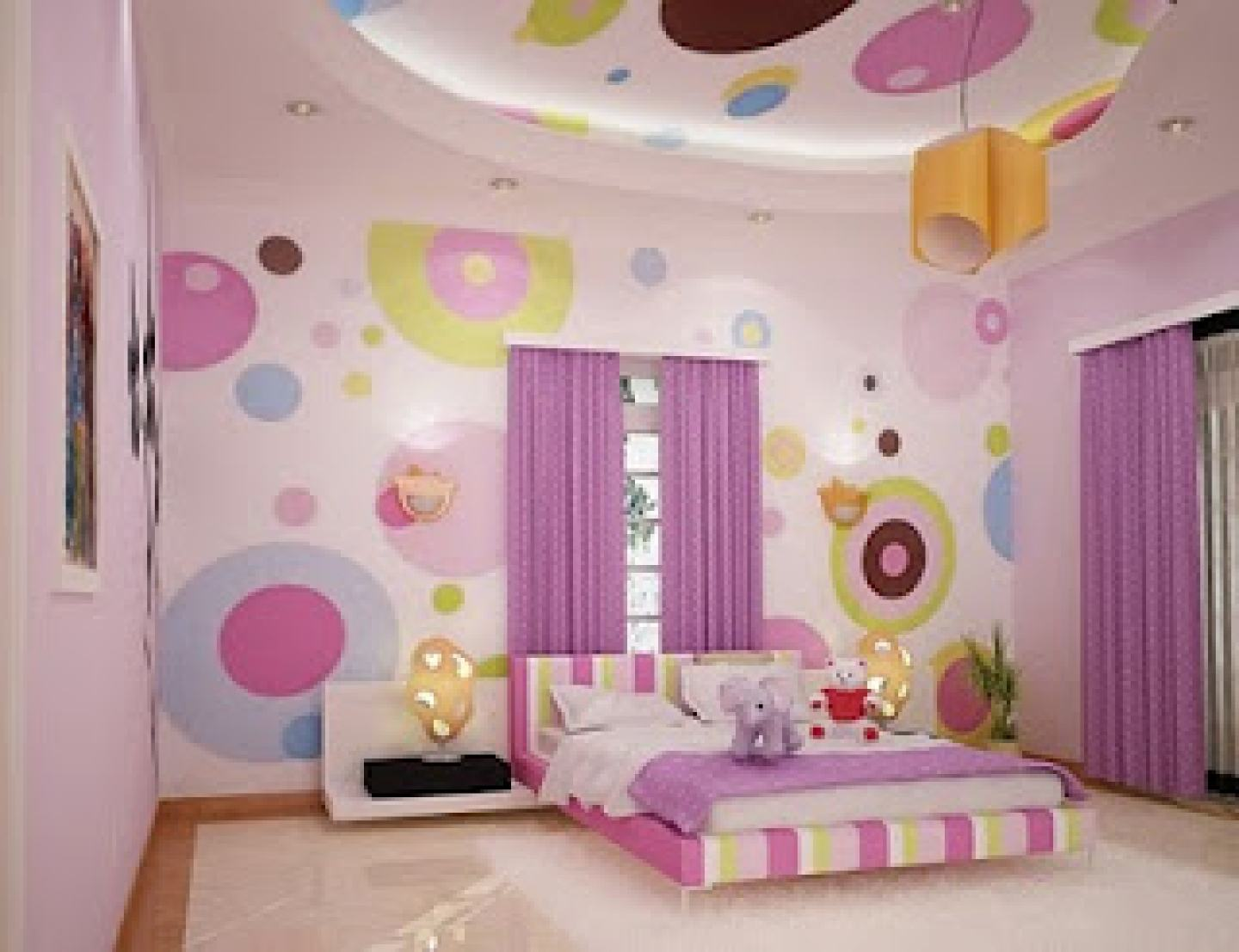 Beau Awesome Design Of The Bedroom For Kids With Kids Furniture With Purple  Urtain And Colorful Wall