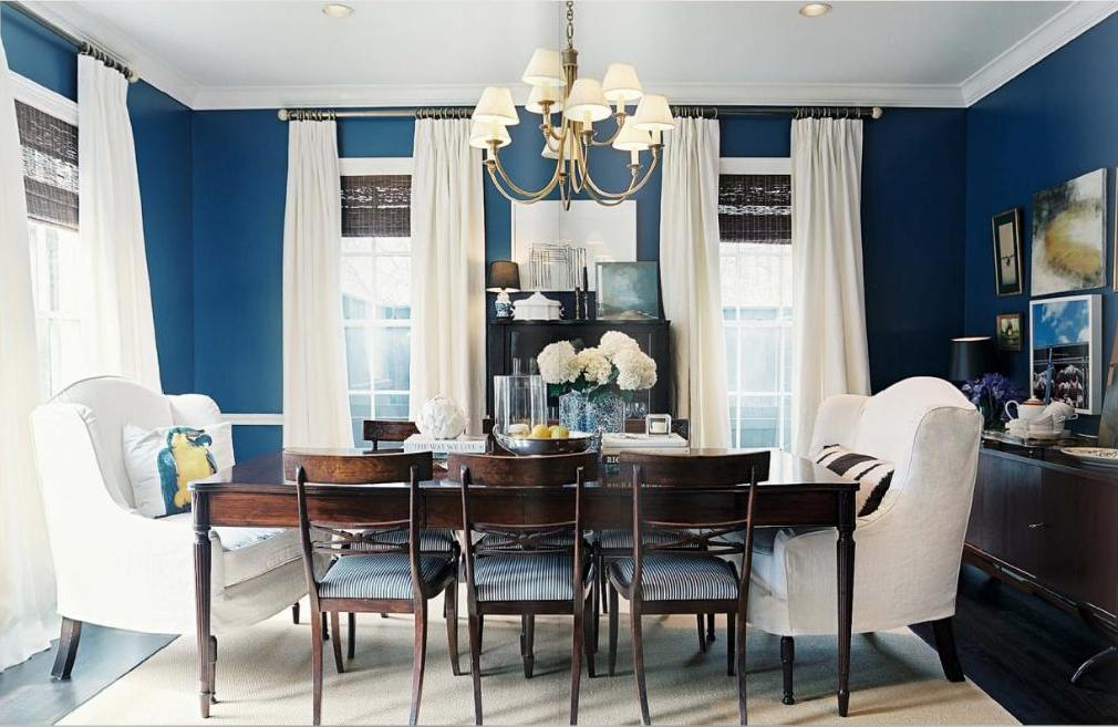 Awesome Design Of The Blue Dining Room With White Curtain Ideas Added Wall And