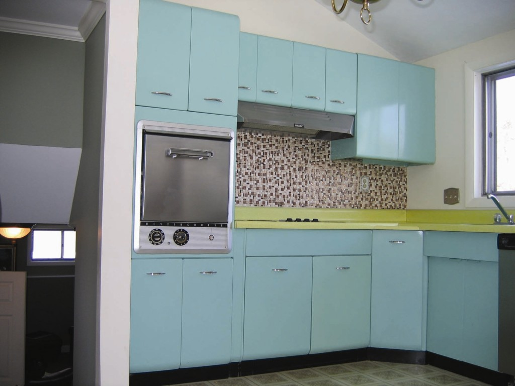 Awesome Design Of The Blue Kitchen Cabinets With White Wall Added With Grey Subway Tile Ideas
