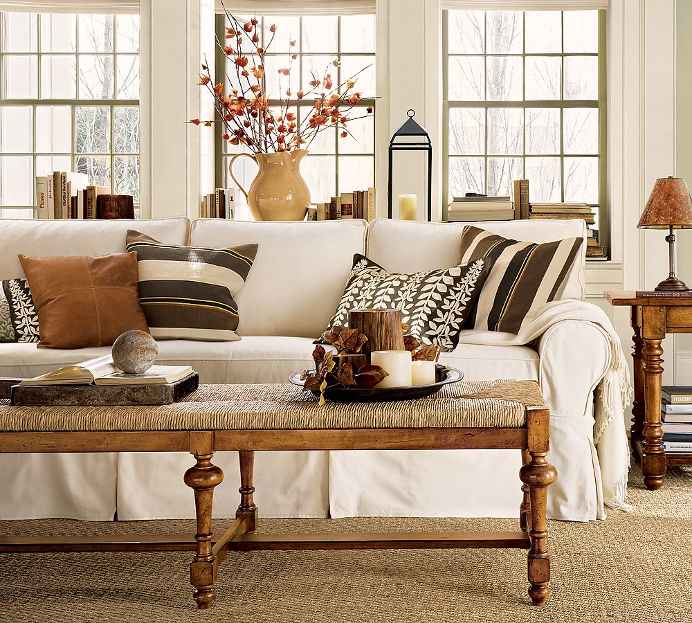 Awesome Design Of The Brown Wooden Floor Added With White Sofa And White Wall Ideas With Brown Wooden Side Table As Pottery Barn Living Room