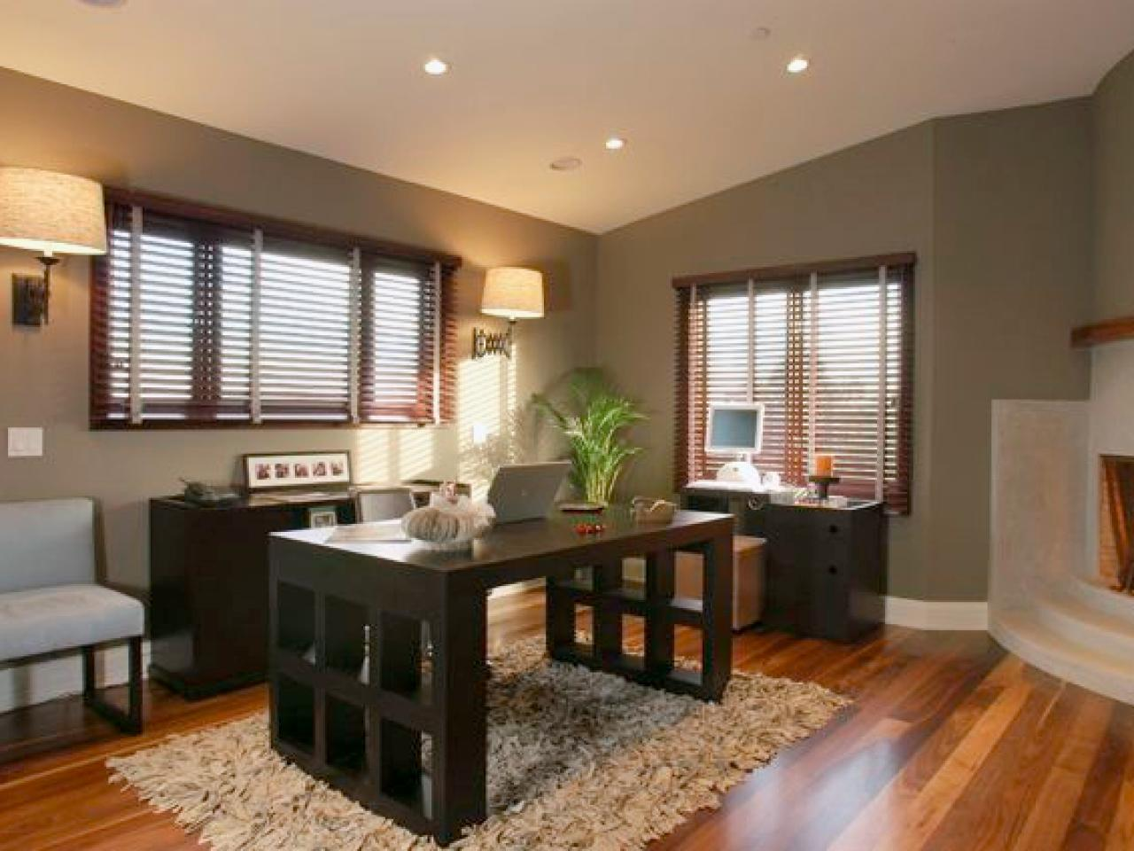 Awesome Design Of The Brown Wooden Floor Ideas Added With Brown Wooden Table And Grey Wall Ideas For The Office Home Areas
