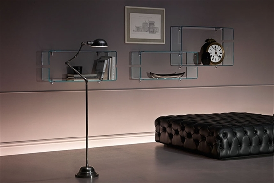 Awesome Design Of The Glass Wall Shelves With Grey Floor Added With Black Leather Seat Ideas With Beige Wall Ideas