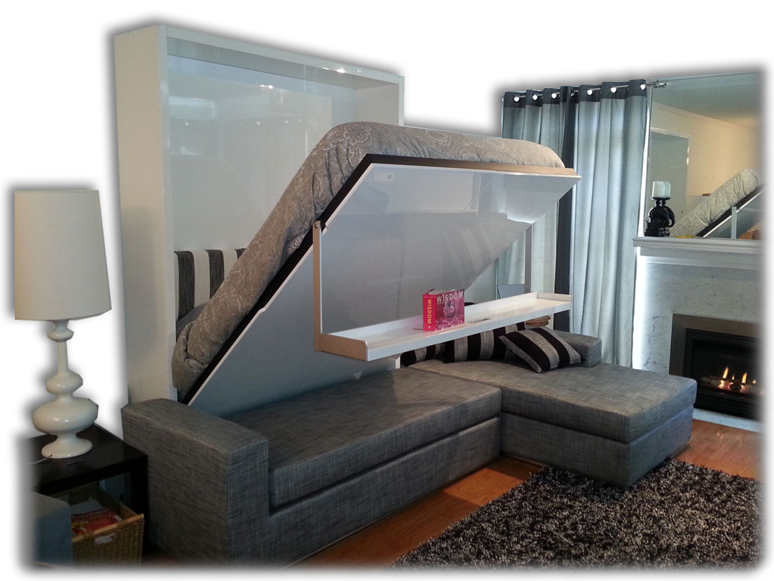 Awesome Design Of The Grey Fabric Sofa Added With Grey Rugs And Modern Murphy Bed Ideas