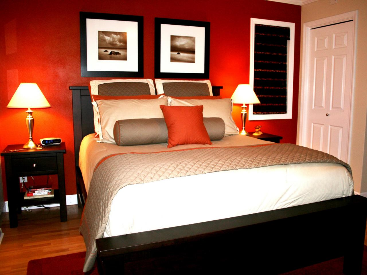 Lovely Awesome Design Of The Red Wall Bedroom Ideas Added With Double Side Table  Ideas As The