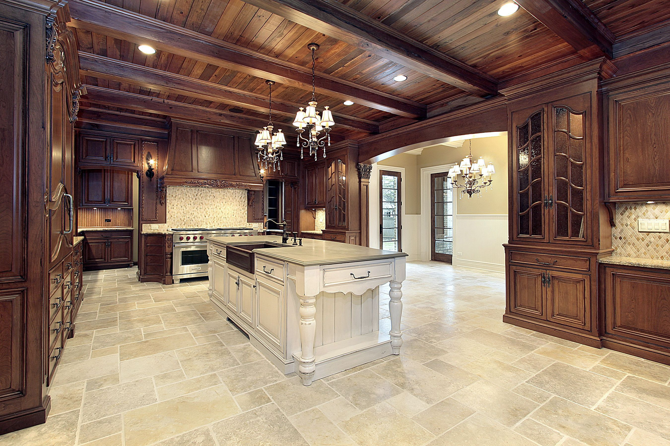 Awesome Interior Room Using Impressive Kitchen Tile Floor also Chandeliers
