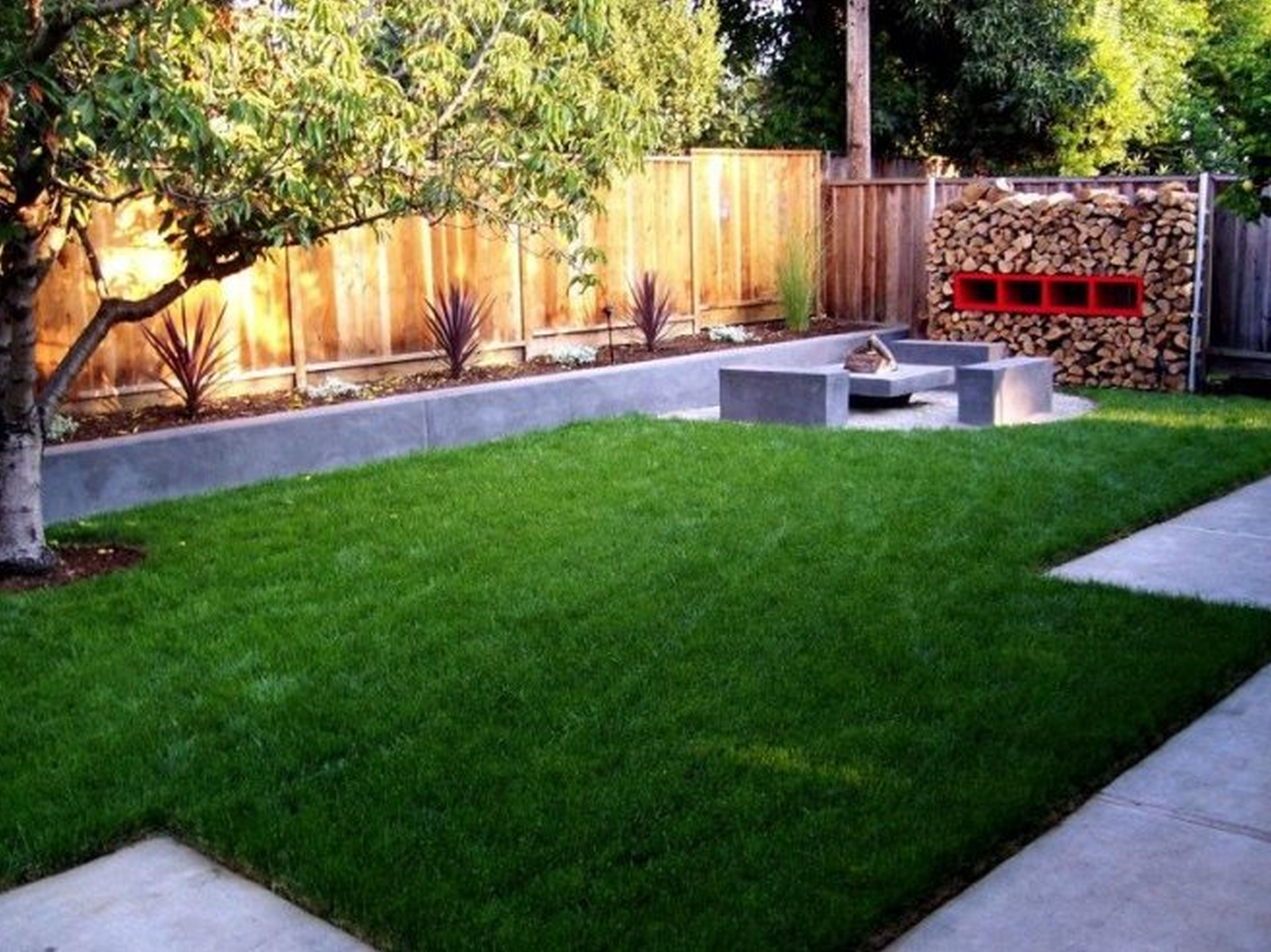 Awesome Wood Storage near Simple Seat plus Green Grass fit to Backyard Garden Ideas