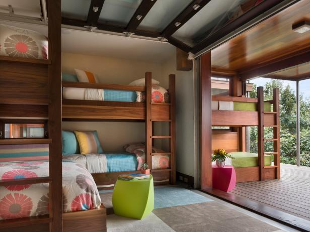 Awful Bedroom Decor Using L Shape Wooden Bunk Beds With Ladder