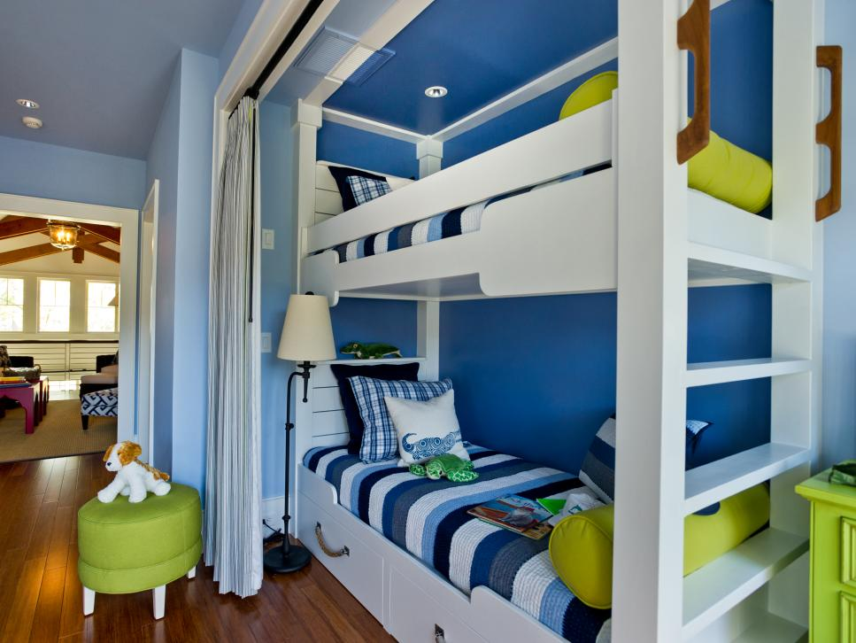 Beauteous Bunk Beds With Curtain Also Bench For Children Bedroom