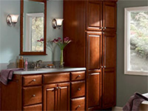 Beauteous Wooden Cabinet For Great Bathroom Storage Furniture plus Mirror