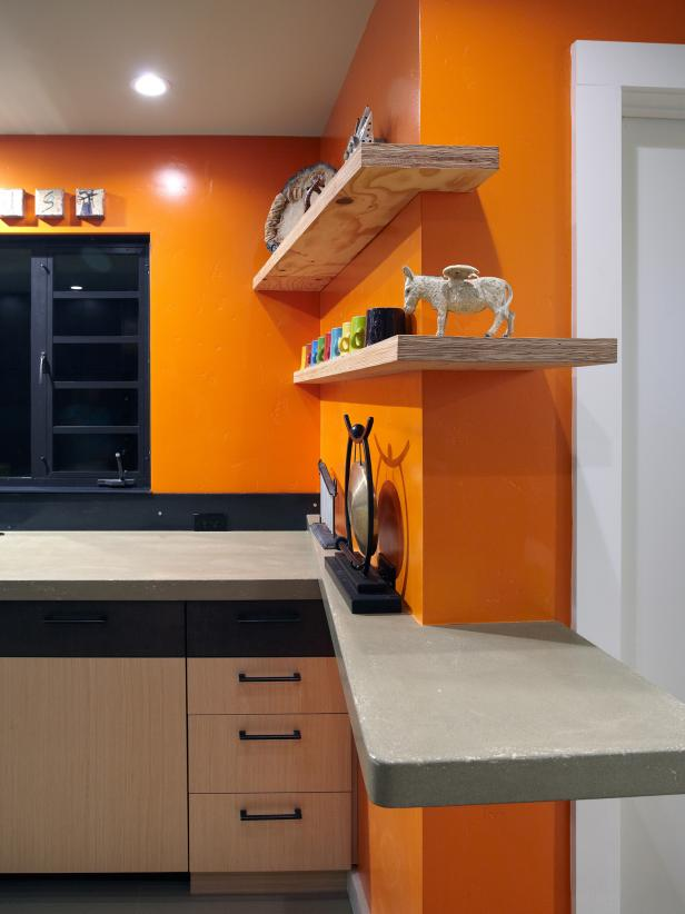 Beautiful Natural Wood Floating Shelves also Orange Wall Paint Color