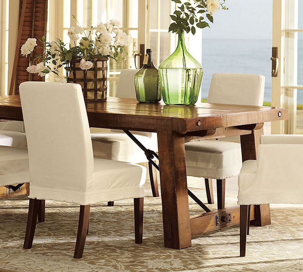 Beautiful White Flowers on Rustic Oak Table in Rustic Dining Room Decorating Ideas with White Lather Chairs
