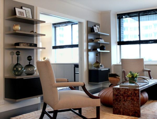 Beckoning Arm Chair also Coffee Table Plus Wall Mounted Shelving