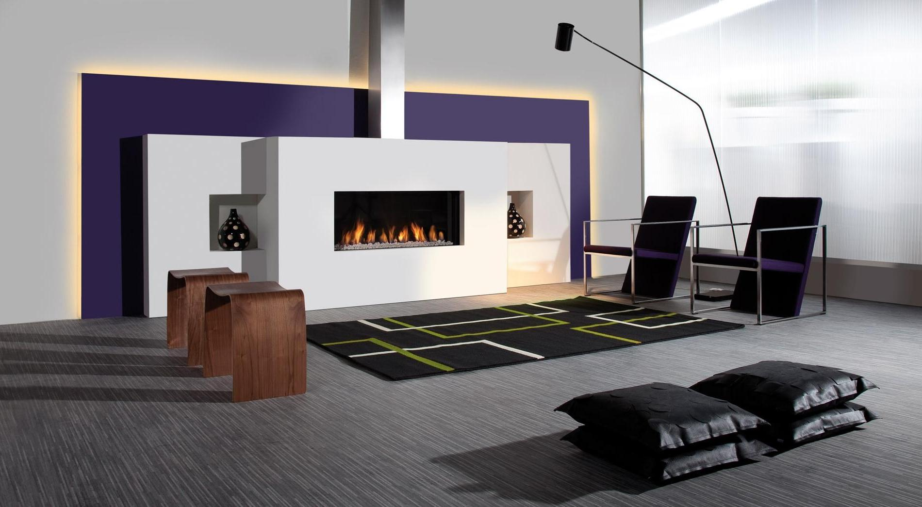 Beckoning Arm Chair near Arch Floor Lamp and Modern Fireplace Design Ideas