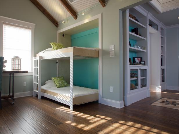 Beckoning Bedroom Uisng Bunk Bed With Storage Using Ladder beside Table and Window