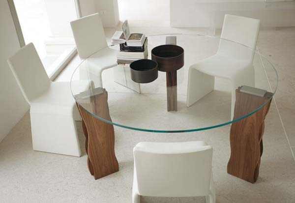 Best Chairs and Round Visible Glass Table For Dining Room Decor