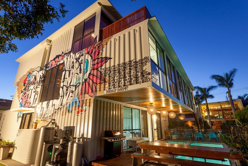 Best Exterior Houuse With Lush Wall Paint also Shipping Container Pool