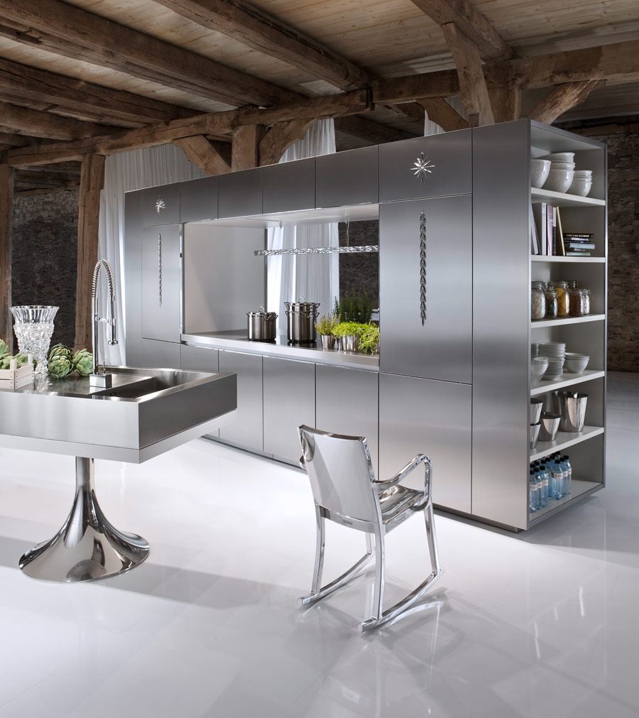 Best Interior Room Using Stainless Steel Kitchen Cabinets With Shelve and Chair