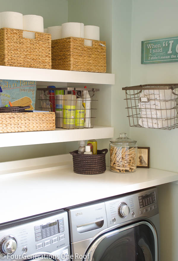 Best Laundry Room Storage Ideas Using Shelve also Rattan Basket