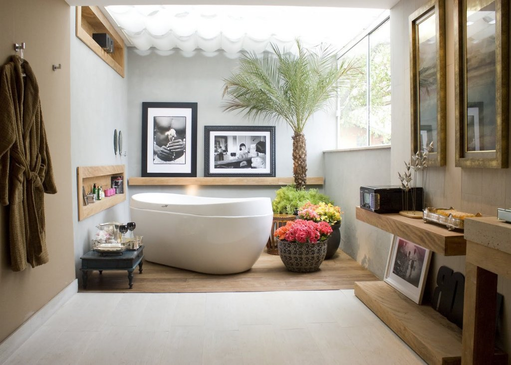 Captivating Bathtub also Plants Decor For Best Modern Bathroom Ideas