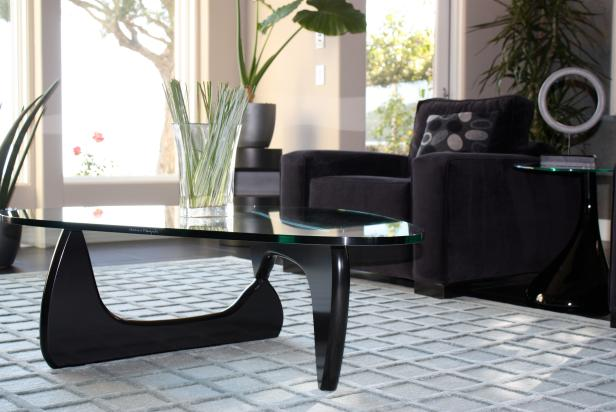 Captivating Furniture of Black Arm Chair also Modern Glass Coffee Table