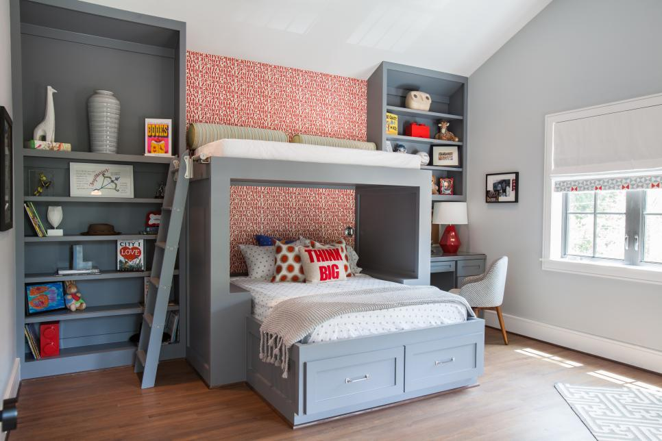 Captivating Gray Bunk Bed Between Book Shelves for Teenage Bedroom