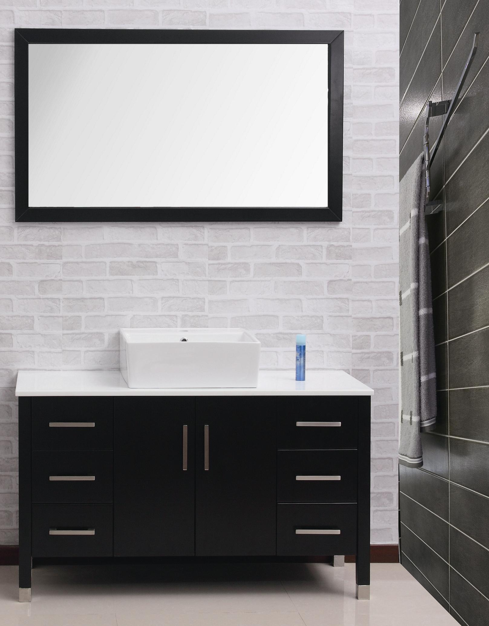 Classy Bathroom Using Black Vanity also White Top and Sink Too Mirror