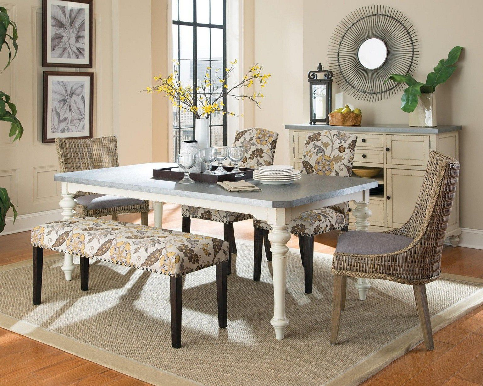 Combine White Table and Comfy Bench in Rustic Dining Room Decorating Ideas with Grey Carpet