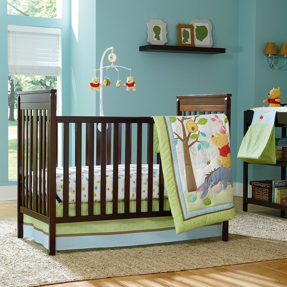 Cute Design Of The Brown Baby Bed Added With Brown Wooden Floor As Well As The Ideas Of The Baby Nursery Themes