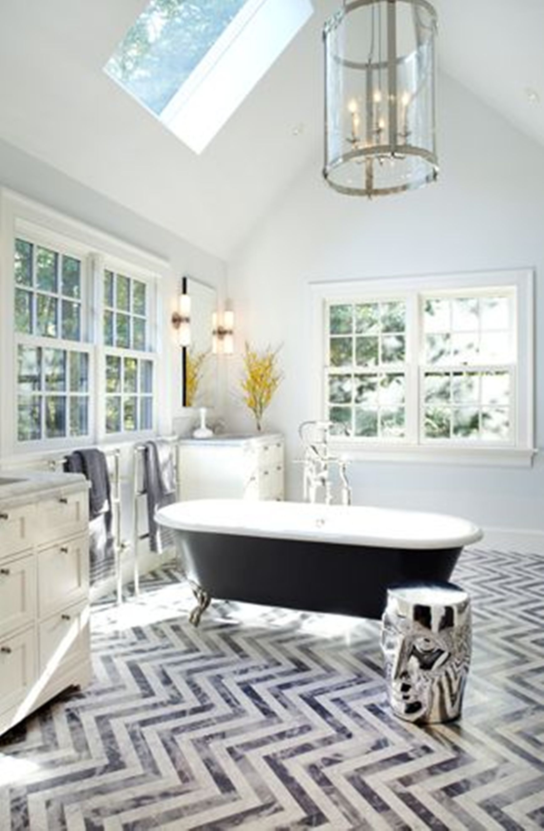 Dainty Bathroom Using Zigzag Stripe Floor Tile also Bathtub Decor