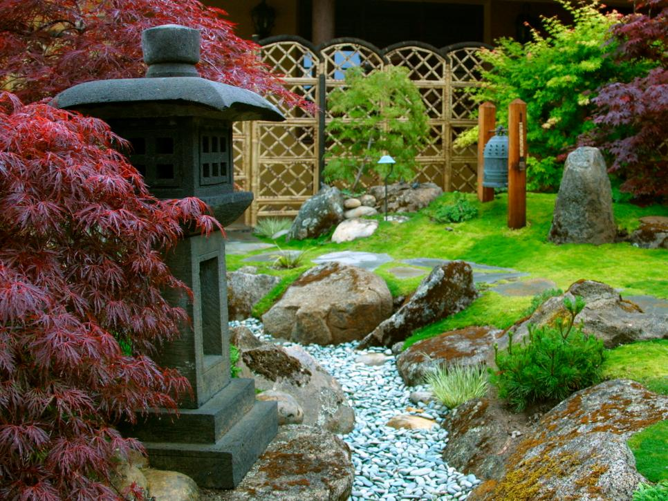 Delicate Japanese Rock Garden With Impressive Lamp And Stone Also Plant